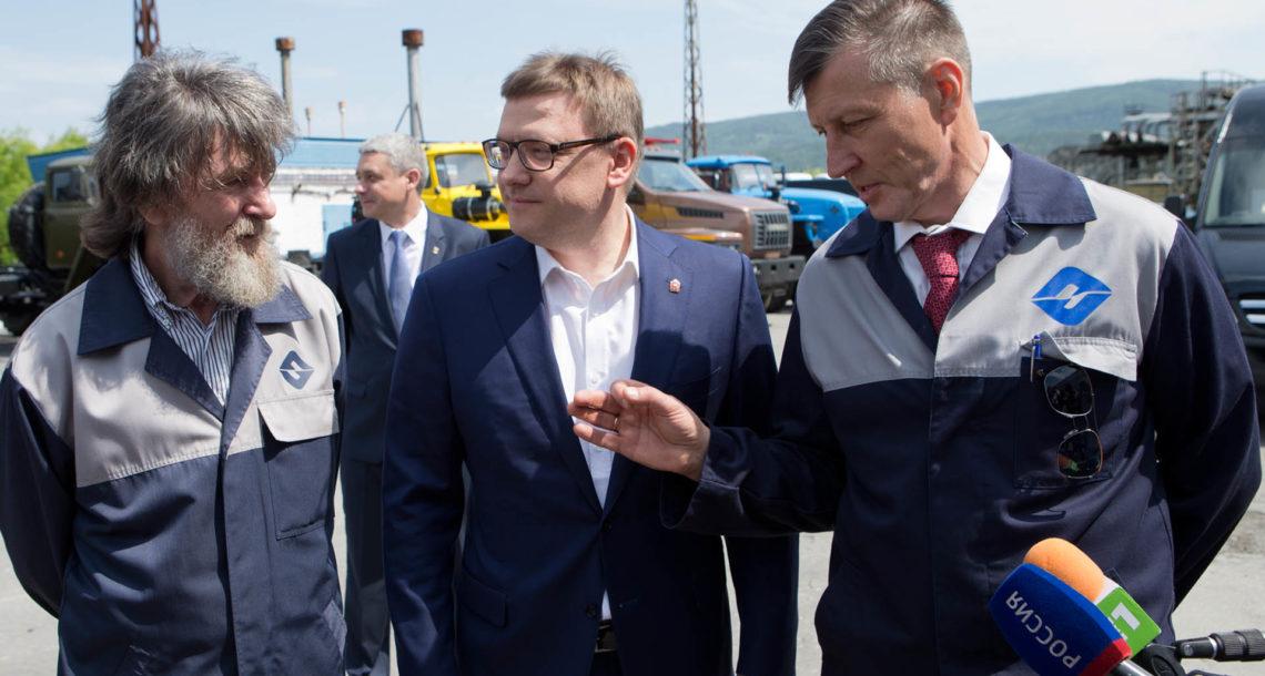 А. Текслер и Ф. Конюхов в Миассе