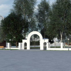 Благоустройство территории у храма и горсада предусматривает обустройство пешеходной зоны с малыми архитектурными формами, реконструкцию изгороди и входной группы в горсад, архитектурную подсветку храма и входной группы.